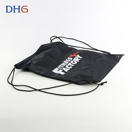 China Lightweight Fabric Black Drawstring Backpack Fashionable Bright Elegant Look distributor