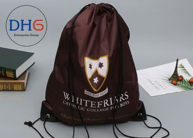 China Durable Fabric Nylon Drawstring Backpack 210D Silk Screen Printed ECO Friendly factory