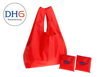 China Reusable Polyester Reusable Grocery Bags Red Die Cut Practical Design Lightweight factory