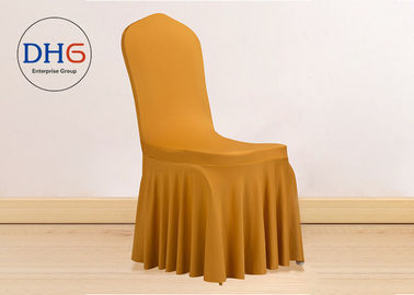 China Furniture Universal Chair Covers Pleated Skirt Removable Yellow Waterproof distributor