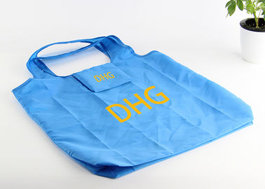 China RPET Foldable Grocery Tote Bags With Printing , Blue Custom Shopping Bags distributor