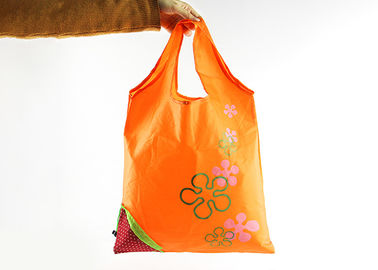 China Orange Color Polyester Tote Bags With Pattern , Cloth Polyester Shopping Bags distributor